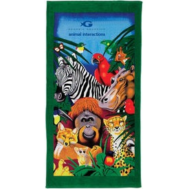 Fiber Reactive Zoo Beach Towel with Your Slogan
