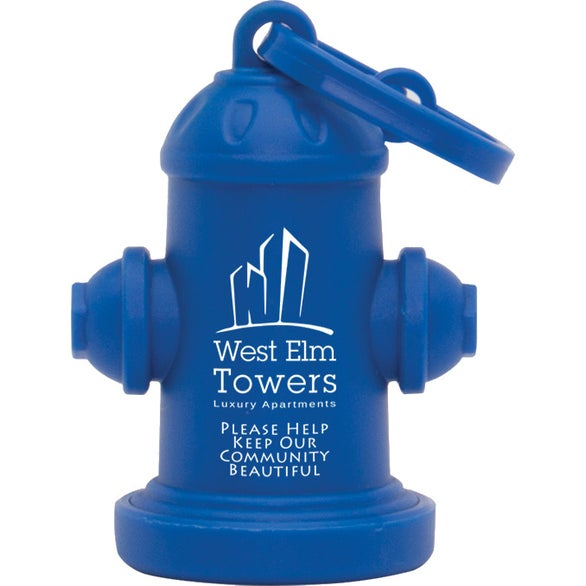 Blue Fire Hydrant Pet Waste Bag Dispenser
