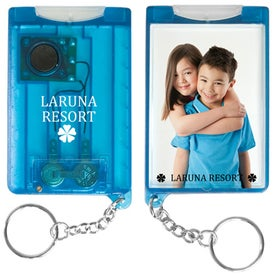 Imprinted Flashlight Snap-In Photo Keytag