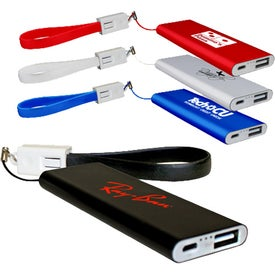 Flat Power Banks with Cable (2000 mAh, UL Listed, Screen Print)