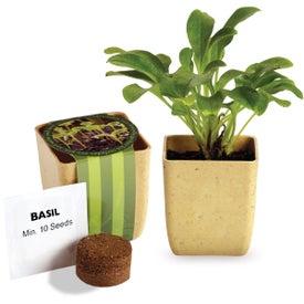 Advertising Flower Pot Set with Basil Seeds