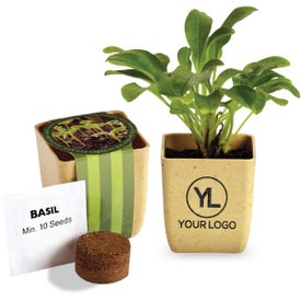 Flower Pot Set with Basil Seeds Printed with Your Logo