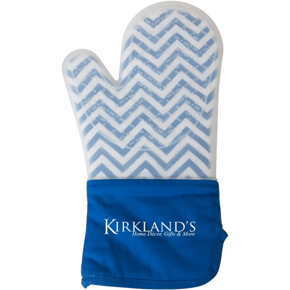 Blue Chevron / White Frosted Silicone Oven Mitt