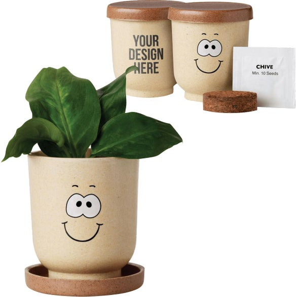 Tan Goofy Grow Pot Eco-Planter with Chive Seeds