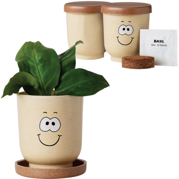 Tan Goofy Grow Pot Eco-Planter with Basil Seeds
