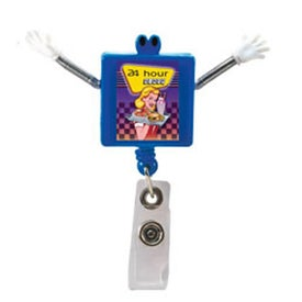 Googly Eyed Square Badge Holder with Your Slogan