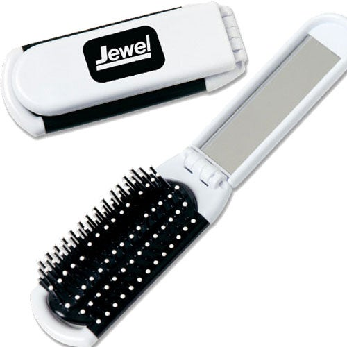 White Hairbrush with Mirror