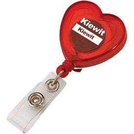 Branded Heart Retractable Badge Holder