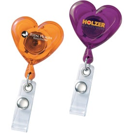 Printed Heart Secure-A-Badge Holder