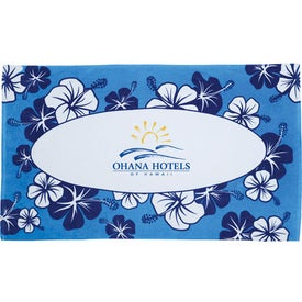 Hibiscus Pattern Beach Towel Imprinted with Your Logo