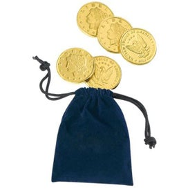Advertising Lancelot Velour Pouch with Lincoln Chocolate Coins