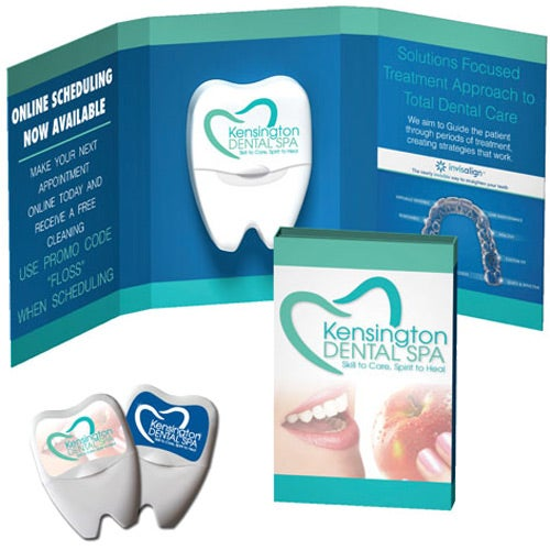 White Tek Booklet with Large Tooth Shaped Dental Floss
