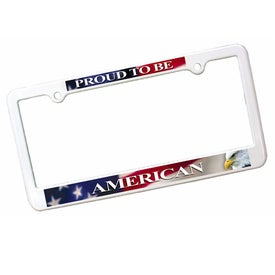 "License Plate Frame (12.375"" x 6.3125"", Full Color Logo, Black, Pink, and White)"