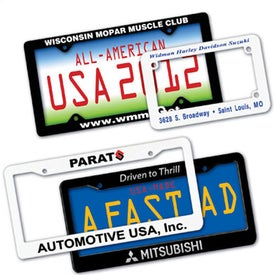 "License Plate Frame (7.1667"" x 4.75"", Screen Print, Black and White)"