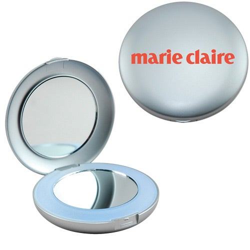 Metallic Gray Lighted Mirror Compact