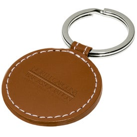 Imprinted Limelight Round Leather Key Fob