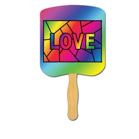 Love Stained Glass Religious Fan (Full Color)