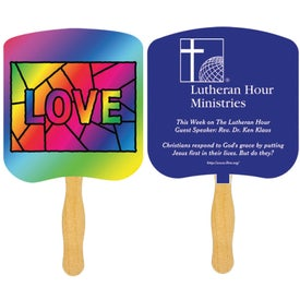 Love Stained Glass Religious Fan