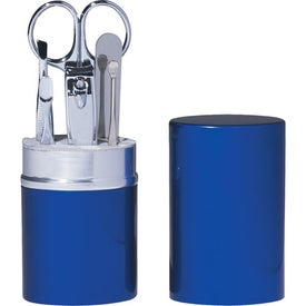6 Piece Manicure Set In Aluminum Case (Blue)