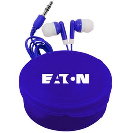 Matching Ear Buds and Round Case for Promotion