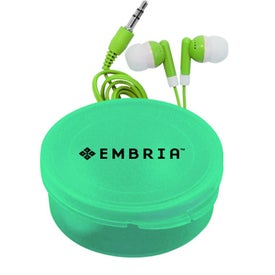 Company Matching Ear Buds and Round Case