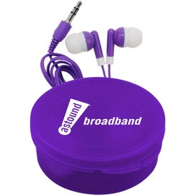 Matching Ear Buds and Round Case for Marketing