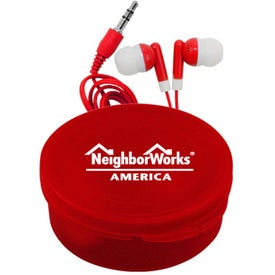 Promotional Matching Ear Buds and Round Case