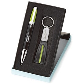 Melody 2-Tone Pen and Leather Key Ring Set for Marketing