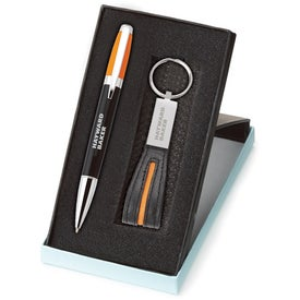 Melody 2-Tone Pen and Leather Key Ring Set with Your Slogan