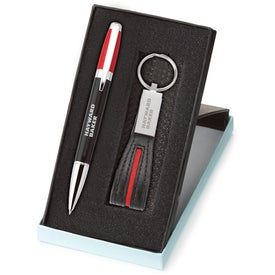 Logo Melody 2-Tone Pen and Leather Key Ring Set