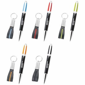 Melody 2-Tone Pen and Leather Key Ring Set