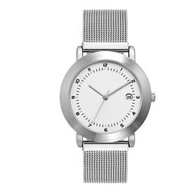 Logo Brushed Silver Mesh Bracelet Styles Mens Watch