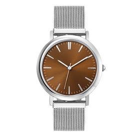 Logo Polished Silver Mesh Bracelet Styles Mens Watch