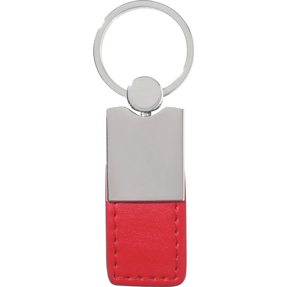 Red / Silver Metal Simulated Leather Key Tag