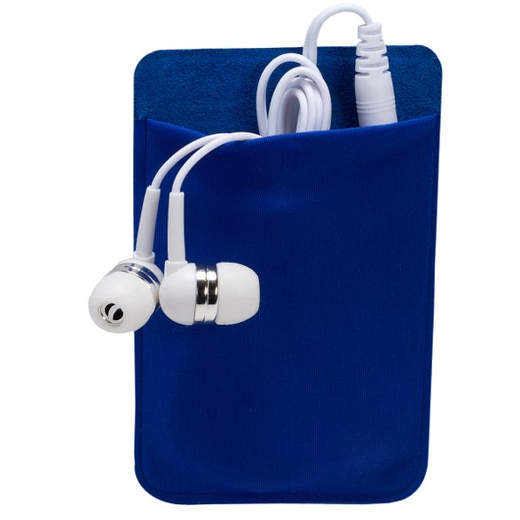 Blue Pocket with White Earbud Mobile Device Pocket and Earbuds Set