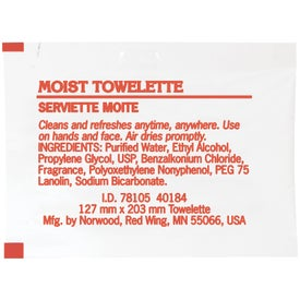 Moist Towelette Packet Branded with Your Logo