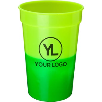 Green Mood promotional 17 oz. mood stadium cups with custom logo for $0.47 ea.