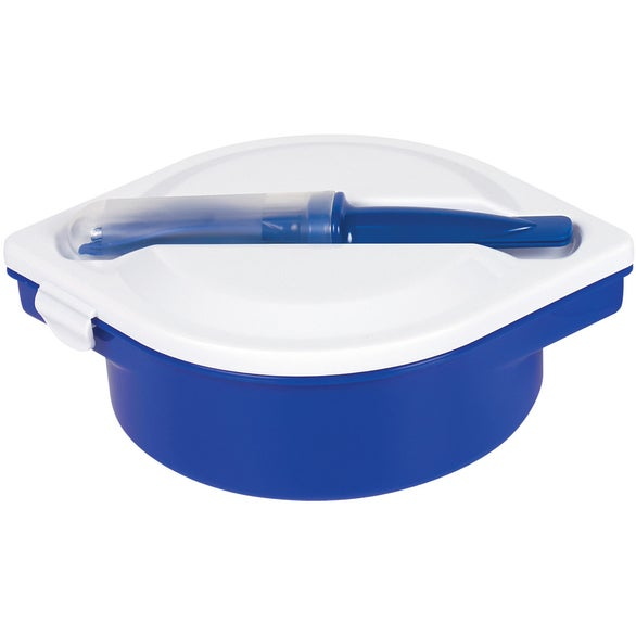 Blue / White Multi-Compartment Food Container with Utensils