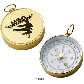 Open Faced Brass Colored Compass