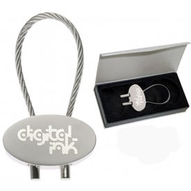 Oval Cable Keytag Imprinted with Your Logo