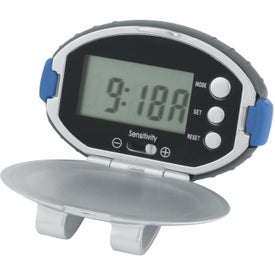 Oval Clip-On Pedometer/ Clock Branded with Your Logo