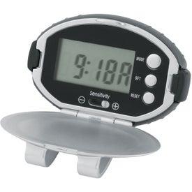 Company Oval Clip-On Pedometer/ Clock