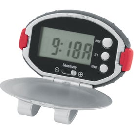 Branded Oval Clip-On Pedometer/ Clock