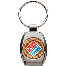 Oval Shape 2 Tone Metal Keychain for Customization