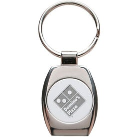 Oval Shape 2 Tone Metal Keychain