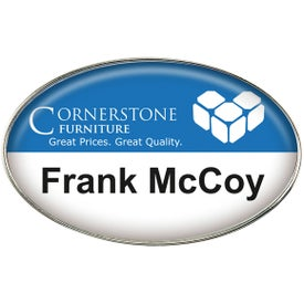 Oval Name Badge with Your Slogan