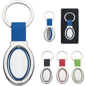 Imprinted Oval Metal Spinner Key Tag