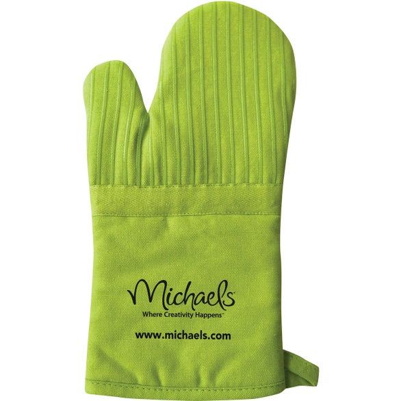 Lime Oven Mitt with Silicone Stripes