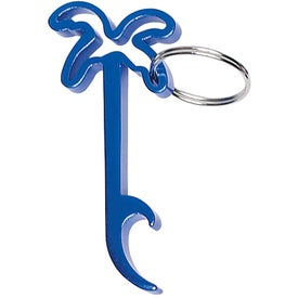 Palm Tree Bottle Opener Key Ring Printed with Your Logo