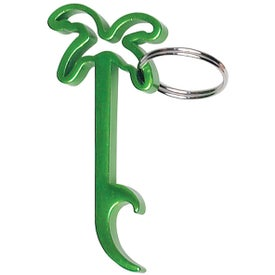 Printed Palm Tree Bottle Opener Key Ring